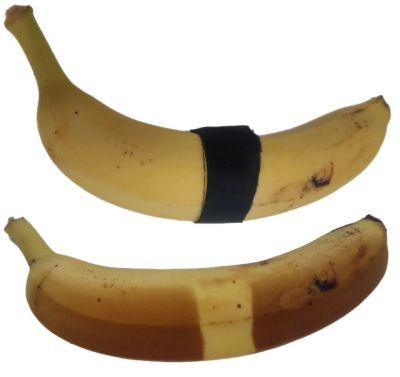 """Banan przed projekcją UV-C i po, ze śladami """"oparzeń"""""""