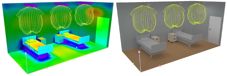 Rys. 8 Krzywa rozsyłu mocy oprawy UV-C Na bazie przygotowanej przez nas krzywej możemy przygotować dokładną symulację rozmieszczenia opraw UV wraz z policzeniem czasu dezynfekcji dla konkretnego miejsca.